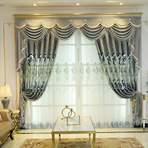 Chenille Window Curtains for Living Room Embroidered Tulle Drape Blinds Decorate