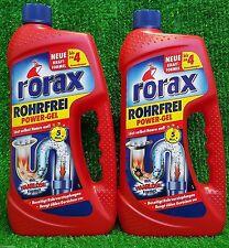 (5,95€/L) 2x ERDAL RORAX Rohrfrei POWER GEL 1l mit Haarlöse Formel Rohrreiniger