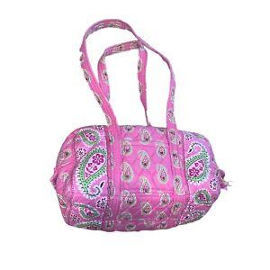 Vera Bradley Retired Pink Bermuda Double Strap Shoulder Bag Purse Paisley Zip