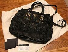 Authentic Prada BN1336 Gaufre Nappa Leather Nero Shoulder Bag $3300