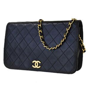 Authentic CHANEL CC Matelasse Chain Shoulder Bag Leather Black Vintage 43JD188