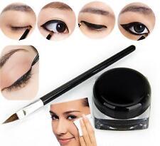 Pro Waterproof Eye Liner Eyeliner Shadow Gel Makeup Cosmetic + Brush Black TIAU
