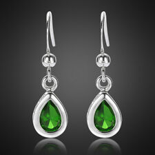 Fashion Jewelry Lady Pear Cut Green Emerald White Gold Plated Dangle Earrings Nr