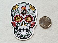 Sugar Scull Sticker With Flames on Forehead Decal