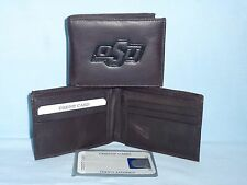 OKLAHOMA STATE COWBOYS    Leather BiFold Wallet   NEW   dkbr 3s