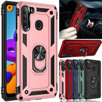 For Samsung Galaxy A21 Case Ring Holder Stand Shockproof Hybrid Hard Phone Cover