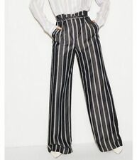 7efbe5dab98 NEW EXPRESS 14S Belted Wide Leg High Rise Pants Chambray-Denim Stripe Paper  Bag