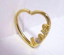 18k Yellow Gold Heart Cartilage Hoop Ring Seamless 16 gauge 16g