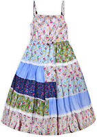Girls New Patchwork Floral Sun Dress Kids Cotton Summer Party Dresses Age 3-11 Y
