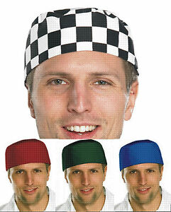 CHEFS SKULL CAP HAT RED GREEN ROYAL BLUE & BLACK & WHITE CHECK ONE SIZE FITS ALL