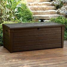 Keter Saxon Brightwood XL Size 454L Waterproof Lockabl Garden Storage Bench Box