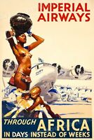 1935 Imperial Airways Through Africa - Vintage Style Airline Travel Poster 24x36