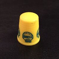 Rare Vintage 1970's Shell Oil Yellow & Blue Collectible Advertising Thimble EUC