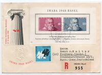 1948 SVIZZERA IMABA BF13 + VIGNETTA SU BUSTA SPECIALE SU RACCOMANDATA VIAGGIATA