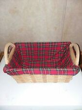 18x12 very nice Holiday Gift WICKER BASKET Wood Handle RED FELT Lined Xmas&tgive