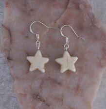 Howlite 15mm Star, 925 Sterling Silver Hook, Drop/Dangle Earrings.Handmade