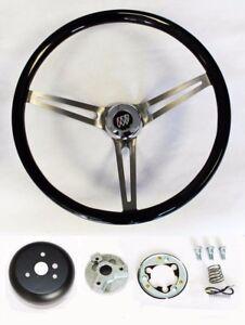 """67 68 Buick Skylark GS Riviera Black Wood Steering Wheel High Gloss Grip 15"""""""