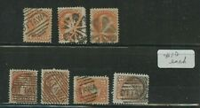 Fancy cancels on 7 Small Queen stamps retail $70 total Canada