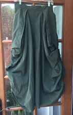 HANNA for La Journee Dark Green Parachute Skirt Lagenlook Size 2 (M/L)