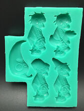 Zombie silicone molds for Fondant Gum Paste Chocolate crafts 5 cavities