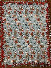 Christmas Sloths Fleece Tie Blanket