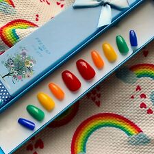 Hand Painted False Nails Stiletto (or shapes) NHS Support Charity Rainbow Set.1