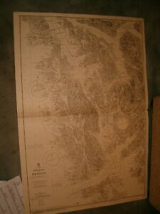 Vintage Admiralty Chart 2303 NORWAY - APPROACHES TO BERGEN 1927 edn