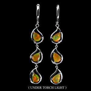 Unheated Pear Fire Opal Rainbow Full Flash 7x5mm 925 Sterling Silver Earrings