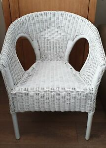 RATTAN Wicker TUB CHAIR  White Gloss CONTEMPORARY Conservatory SUSTAINABLE   New