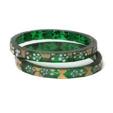 Lot (2) antique Czech gold gilt enamel green faceted glass bangles earring hoops
