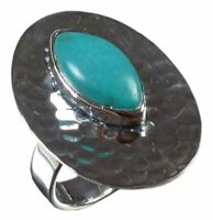 925 Solid Sterling Silver Ring Natural Turquoise Gemstone US Size 7 R2635