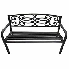 Outdoor Home Garden 3 Seater Patio Bench Seat Furniture Black Metal