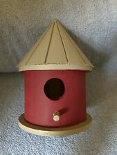 Bird House - Wood - Domed Grooved Top - Cranberry/Gray Color