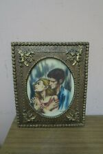 """Vintage Signed Artini Engraving Painting """" Lovers """" Twin Etched  Original Frame"""