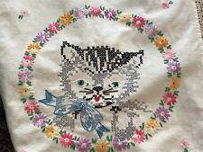 "Darling Vintage Cross Stitch Cats Table Runner Ecru Crochet Trim 14""x 38"" (#14)"
