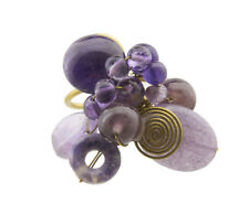 Ring thread brass Adjustable with Stone Amethyst homemade 7