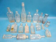 Mixed Antique Lot Small Estate Clear Glass Medicine Phenolax Chemical Bottles