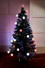 VERDE 150 cm (5 FT (ca. 1.52 m)) in Fibra Ottica Albero di Natale con 32 Palline di colori cangianti LED