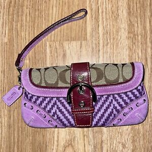 Coach Wristlet Purple Wool Herringbone Suede Leather Signature Bag Mixed Media