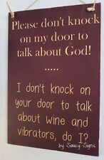 Naughty Door Knockers Wine Vibrator God Sign - no soliciting warning vibrators