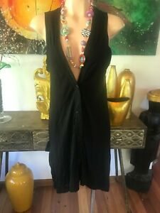 Metalicus Dress/Vest Black Button Through With Pockets Size 10/12/14 Stretch