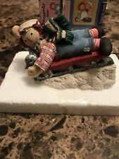 """Raggedy Ann & Andy. """"Have A Happy,Jolly Time� Raggedy Andy On A Sled Figurine"""