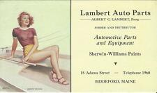 1950's Lambert Auto Parts Biddeford Maine Blotter Pin Up Gal Smooth Sailing