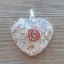 ORGONE CLEAR QUARTZ GEMSTONE HEART SHAPED PENDANT ORGONITE (ONE)