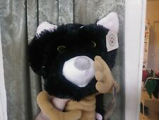 Black Cat Hat New w Tags Plush Soft One size Fits All Halloween cosplay fashion