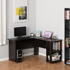 L-Shaped Corner Computer Desk Laptop Workstation 2 Shelves Space Saving Home