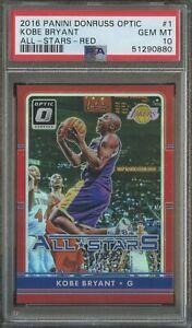 2016-17 Donruss Optic Red Prizm All-Stars Kobe Bryant Lakers HOF /99 PSA 10