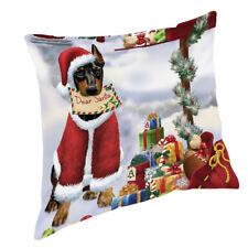 Doberman Pinschers Dear Santa Letter Christmas Dog Throw Pillow 14x14