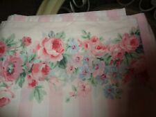 Adorable Cottage Chic Pink White Striped Rose Floral Border TWIN FLAT BED SHEET