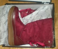 Mi.iM WOMENS 10, BURGUNDY FUR LINED WINTER BOOTS MARSHMALLOW 03, LACE, SUEDE